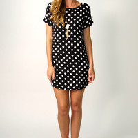 Ainsley Short Sleeved Polka Dot Tunic Dress: Black