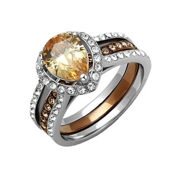 Champagne Sparkle - Women's Two Tone IP Stainless Steel Wedding Set with AAA Grade Brown CZ Center Stone