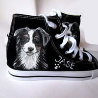 Custom handpainted shoes with your DOG, custom dog sneakers