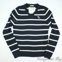 Abercrombie & Fitch Navy and White Stripe V-Neck Muscle Sweater - Men's Medium