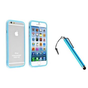 """Insten Clear/Sky Blue Bumper Frame Case with metal Button+Touch Stylus For Apple iPhone 6 4.7"""" inch - Walmart.com"""