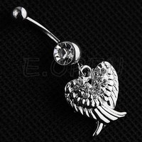 Steel Rhinestones Double Wings Pendant Ball Belly Rings Button Navel Ring Stud