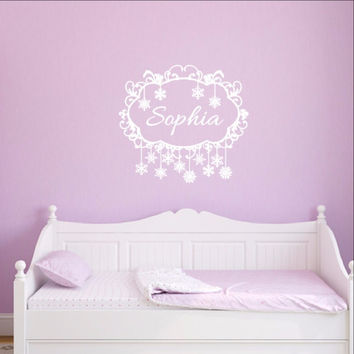 Snowflakes Frame Personalized Nursery Girls Room Custom Vinyl Wall Decal 22481