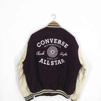 Vintage 80's CONVERSE All Star Chuck Taylor Skateboard Varsity Leather Wool Coat Jacket