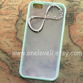 iPhone 5 case,INFINITY--One Direction iphone case, directioner,Harry Styles clear & mint green side case for iPhone 5 case