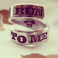 Run to me horse inside hand stamped aluminum spiral ring