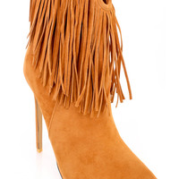 Tan Pointy Toe Fringe Heel Ankle Booties Velvet
