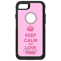 DistinctInk™ OtterBox Commuter Series Case for Apple iPhone or Samsung Galaxy - Keep Calm and Love Pink