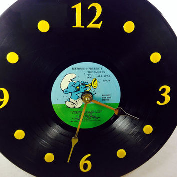 "Vinyl Record Clock, Wall Clock, Smurf Record, Recycled Music Record, 12"" Record, Battery & Wall Hanger included, Item #25"