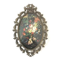 Vintage Ornate Gold Frame Made in Italy, Small Oval Metal Frame, Victorian Decor Wall Art, Framed Old Masters Flowers Renaissance Print