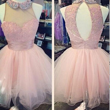 Baby Pink Tulle Beading Appliques Homecoming Dress