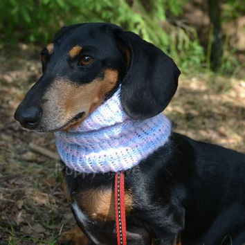 Dog Neck Warmer for Small / Medium Dog Hand Knitted READY TO SHIP White Pink Blue  Snood  Mohair Scarf for dog