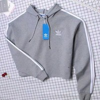 Adidas Fashion Hooded Top Pullover Sweater Sweatshirt Hoodie Grey