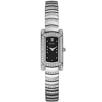Bulova Ladies Petite Swarovski Crystal Dress Watch - Silver-tone & Black