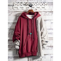 Retro stitching contrast color sweater new men's European and American sports jacket hooded hooded shirt autumn