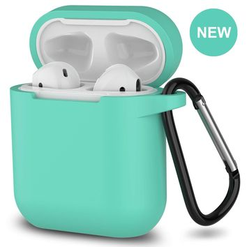 New AirPods Case, 360°Protective Silicone AirPods Accessories Kit Compatable with Apple AirPods 1st/2nd Charging Case [Not for Wireless Charging Case] - Green