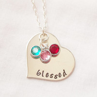 Blessed Heart Necklace ~ Sterling Silver, Hand Stamped, Birthstones, Mother's Necklace, Mother's Day, We Are Blessed, Family ~ MADE TO ORDER