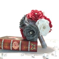 Bouquets in red, grey and white paper Roses, Wedding party bouquets in colors of your choice, Handmade paper flower bouquets