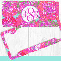 Pink Fuschia Floral Monogram License Plate Frame Holder Metal Wall Sign Tags Personalized Custom Vanity