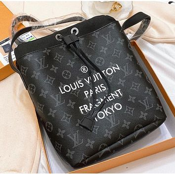 LV Fashion New monogram leather shopping leisure shoulder bag women crossbody bag bucket bag Black