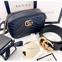 GG solid color men's and women's letter buckle belt, classic women's zipper messenger bag
