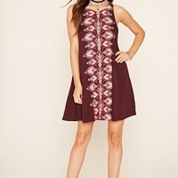 Abstract Print Zipper Dress