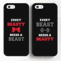 Every Beauty Need A Beast Lover Pair Couples Soft Rubber Mobile Phone Cases For iPhone 6 6S Plus 7 7 Plus 5 5S 5C SE 4 4S Cover