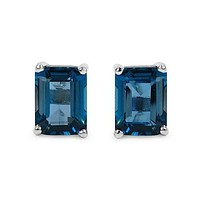 3.52 Carat Genuine London Blue Topaz .925 Sterling Silver Earrings