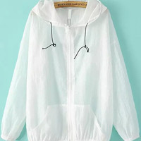 White Sheer Hooded Jacket