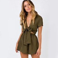 Bow Knot Short Sleeves Rompers