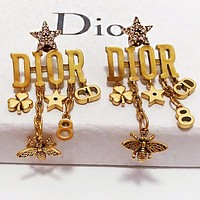 DIOR Women Retro Letter Star Tassel Earrings Jewelry Accessories