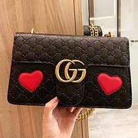 Hipgirls GUCCI New fashion love heart more letter leather chain shoulder bag crossbody bag Black