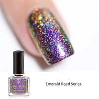 BORN PRETTY 6ml Peacock Holographic Nail Polish Holo Effect Long Lasting Nail Varnish Shinning Glitter Sequins Nail Art Laquer