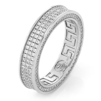 .925 Sterling Silver White Gold Infinity Ring - 3 Row