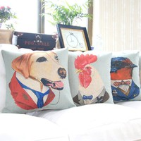"""MagicPieces Cotton and Flax Decorative Pillow Case Pillow Cover Case 18"""" x 18"""" Square Shape Hollywood Star Animal D"""
