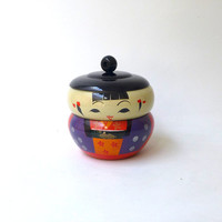 Vintage Japanese kokeshi bento or trinket doll stacking box