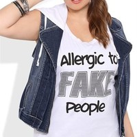 Plus Size Twist Back Tunic Tank with Allergic to Fake People Screen