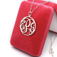 Circle Personalized Monogram Necklace,Personalized necklace sterling silver