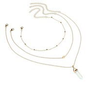 Women Multilayer Irregular Crystal Opals Pendant Chain Necklace