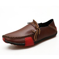 Genuine Leather Mens Shoes Casual Fashion Big Size Loafers Shoes for Men Hand Made Driving Shoes Men Comfort Flats
