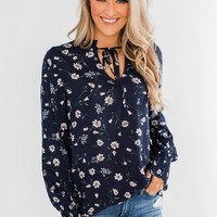 With All The Love For Me Floral Blouse- Navy