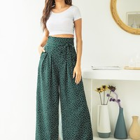 Polka Dot High Waist Belted Wide Leg Pants | SHEIN