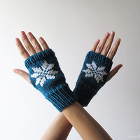 Hand Knit Fingerless Gloves in Petroleum Green - Embroidered Snowflake - Seamless Knit Gloves - Wool Blend - Ready to Ship