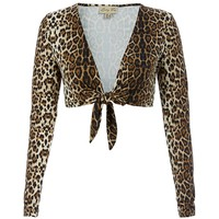 Discover the perfect cover-up in the classic style leopard patter on stretch nylon-spandex-blended material shrug, featuring long sleeve, self-tie-up fasten shrug, this ultra-versatile piece can easily be worn with skinny jeans with a simple top underneath