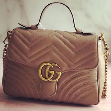 Gucci sells lady's double G fashion V-type leather mini-handbag