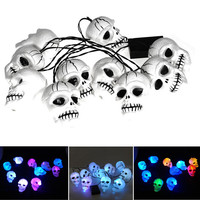 High quality Modern style Halloween Skull 10-Head Bone String LED Light Lamp Set Decoration Colorful Bulb