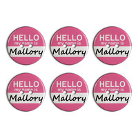 Mallory Hello My Name Is Plastic Resin Button Set of 6