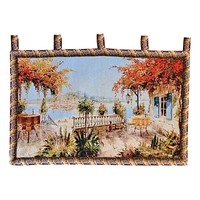 Tache Tapestry Summer Ocean View Coastal Table for Two Wall Hanging Art 28 x 47 (13571B)