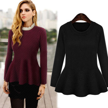 Long Sleeves Flounced Knitted Sweaters