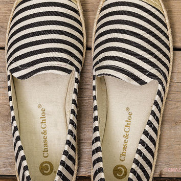 Take Me Out Black Striped Espadrille Boat Shoes